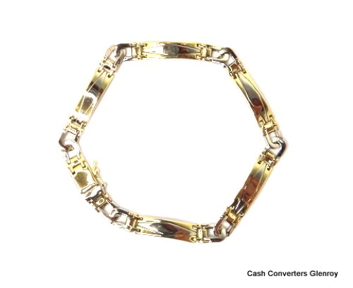 14ct 2 Tone Yellow Gold Bracelet 18 41G