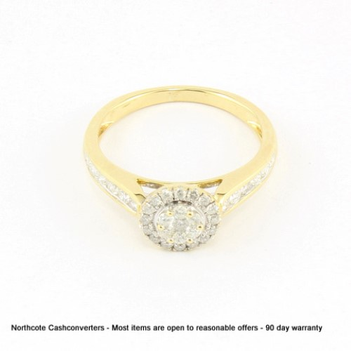 P1 P2 Diamond: 9ct **Clearance** Yellow Gold Ladies Diamond Ring M