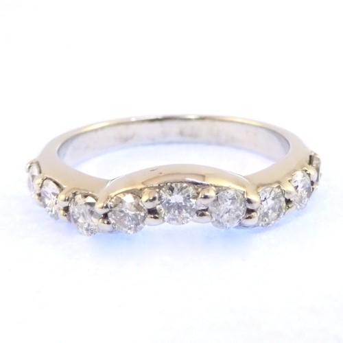 Curved Design Dia Tdw: 0.50Ct 18ct White Gold Ladies Ring
